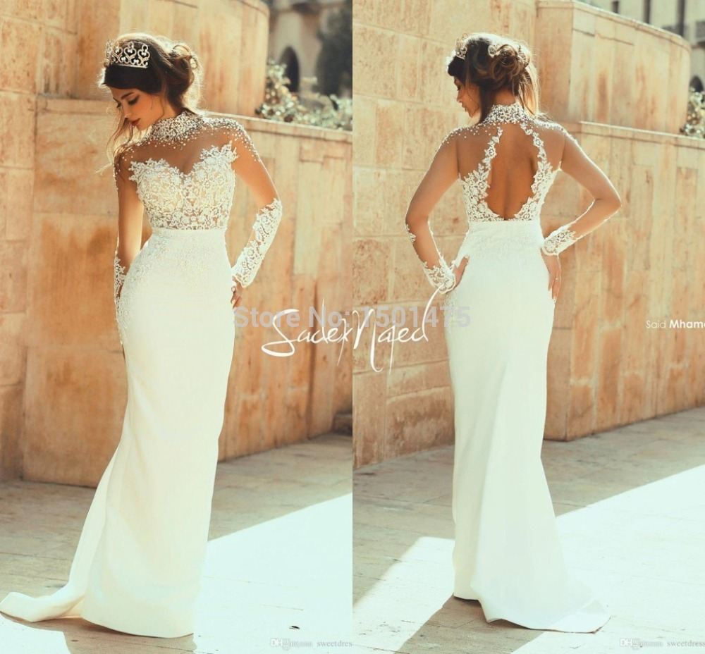 Sheath wedding dress with lace and beading