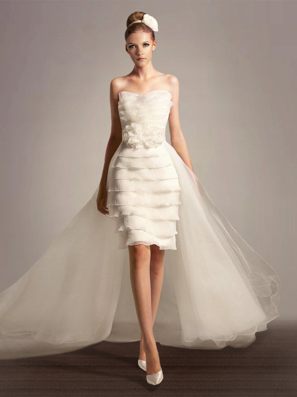 Short Tiered Wedding Dress
