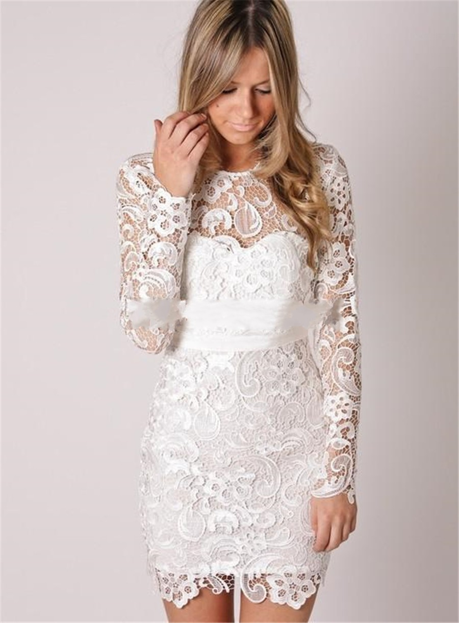 Short wedding dress with long sleeves