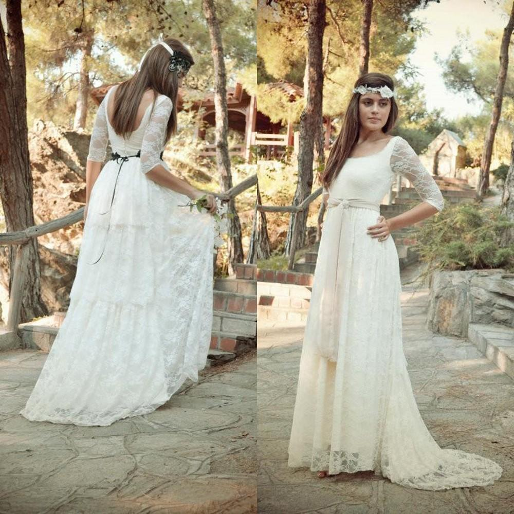 Sleeved Bohemian Wedding Dress