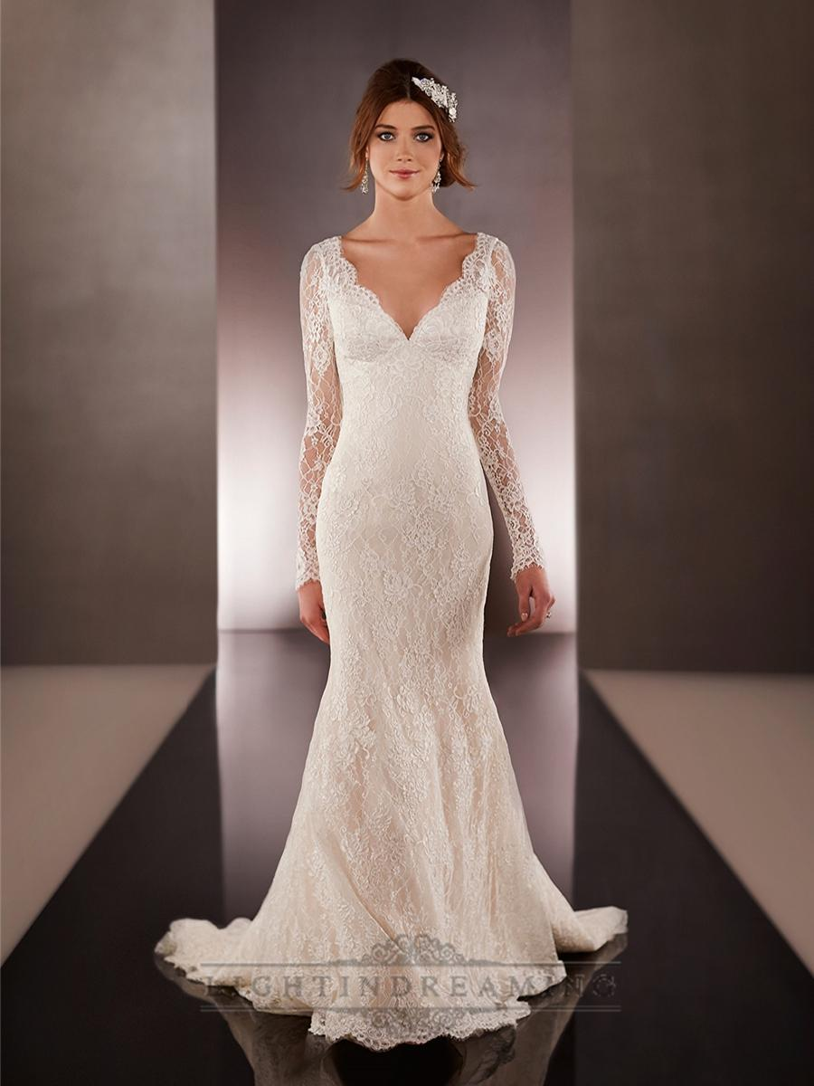 v neck mermaid wedding gown - V Neck Wedding Dress