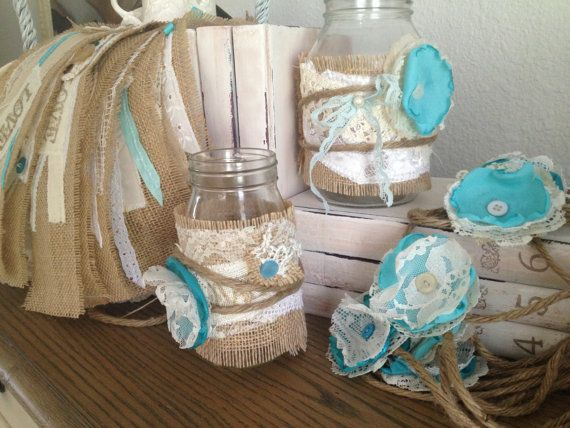 Vintage wedding decor with blue