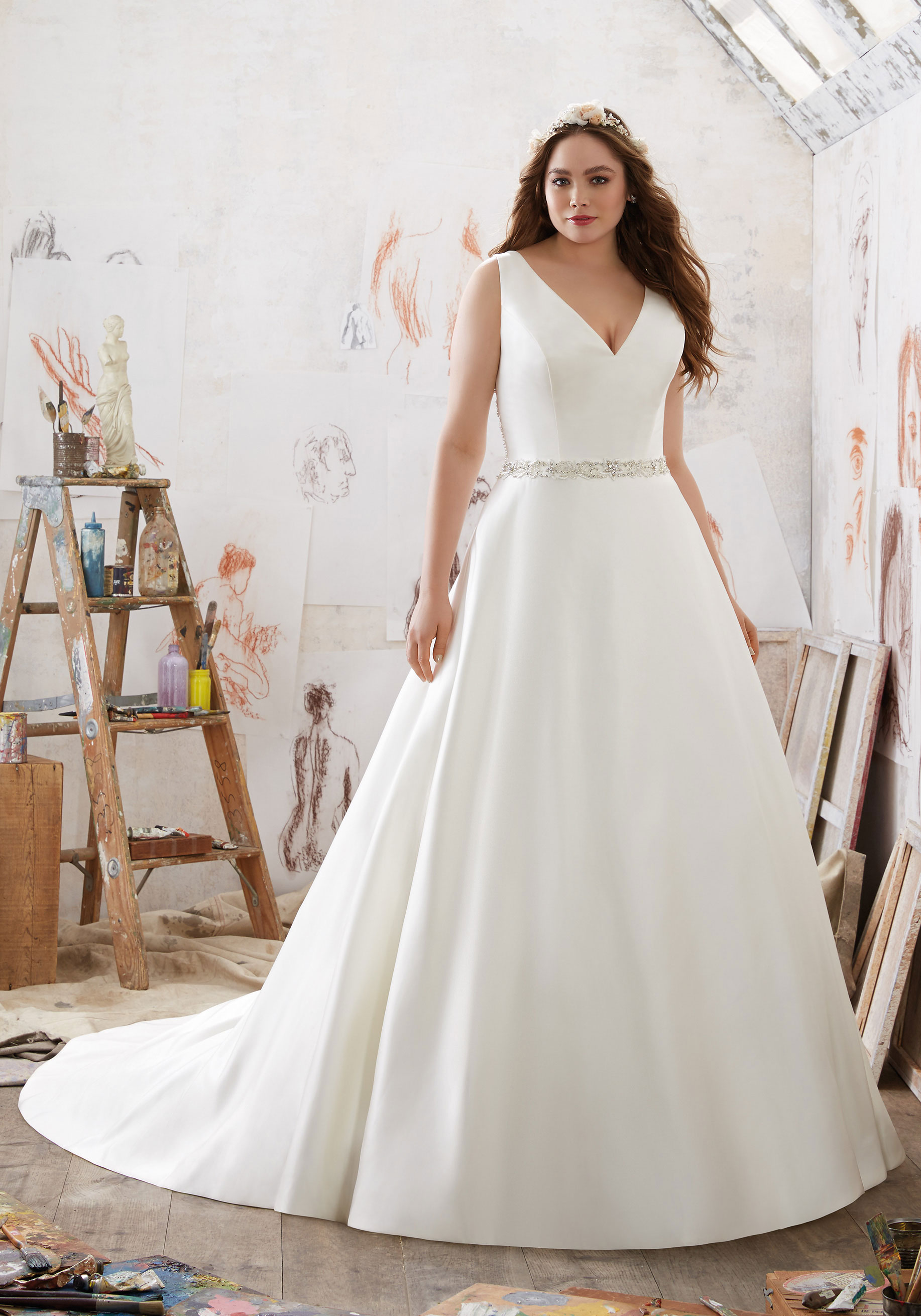 A-line plus size wedding dress