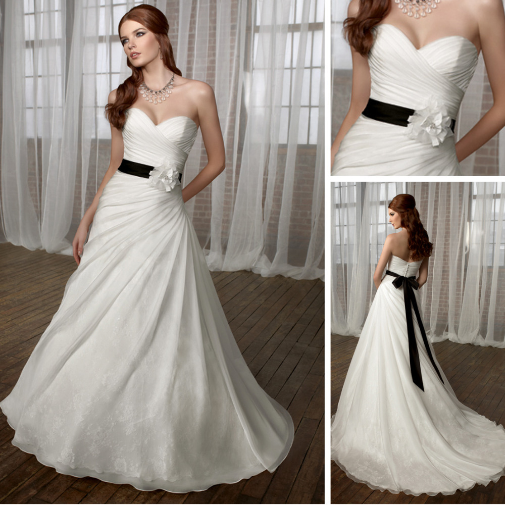 A-line wedding dress with black waistband