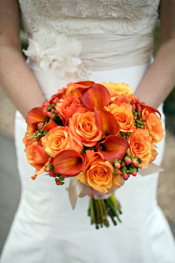 Autumn wedding bouquet with roses