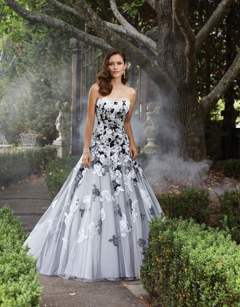 Black and white A-line wedding gown