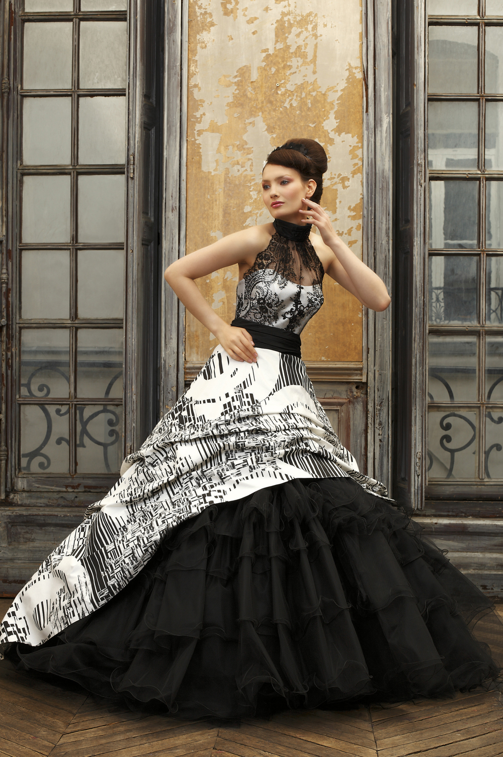 Black and white ball gown wedding dress with halter neck