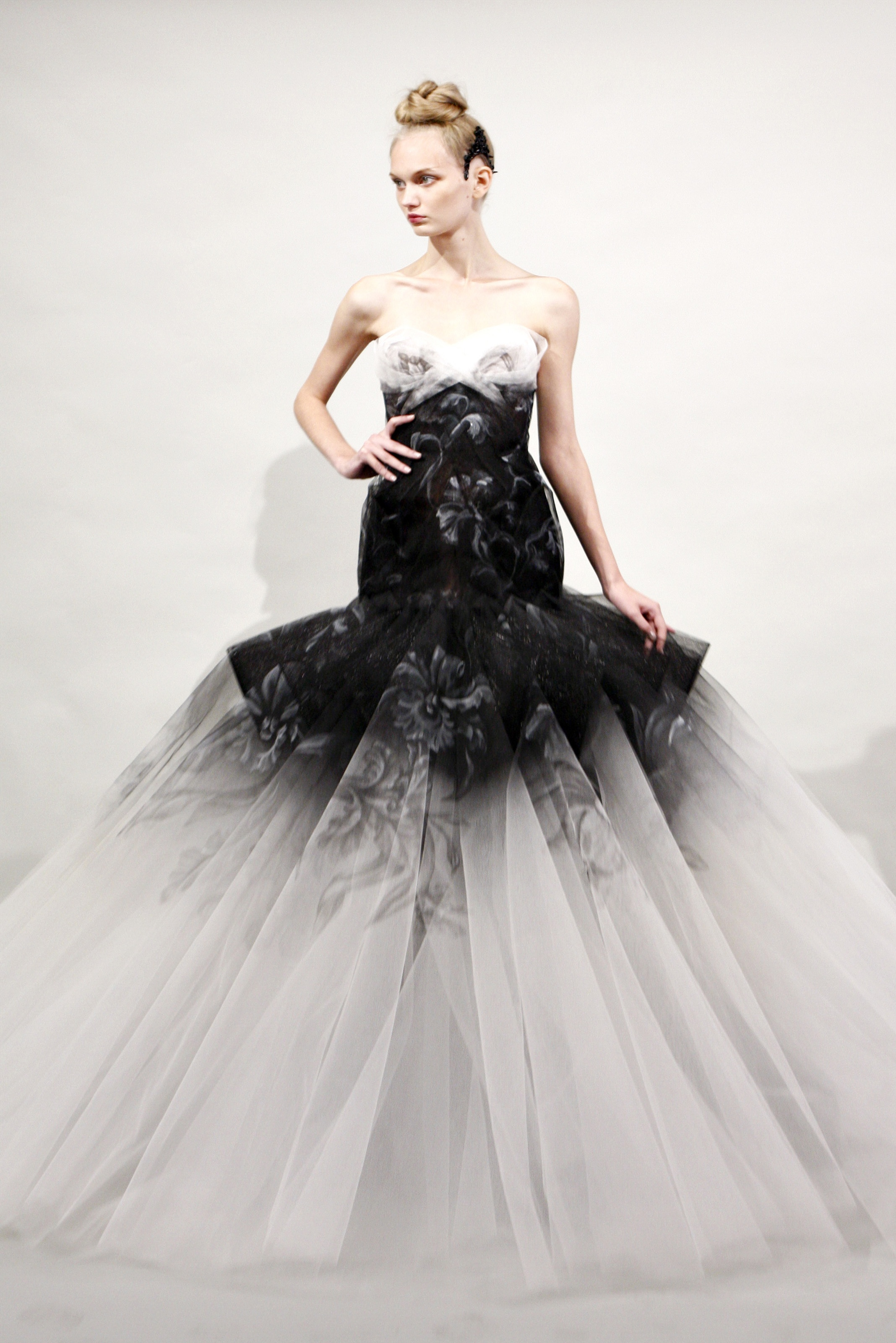Black and white wedding dress by Marchesa