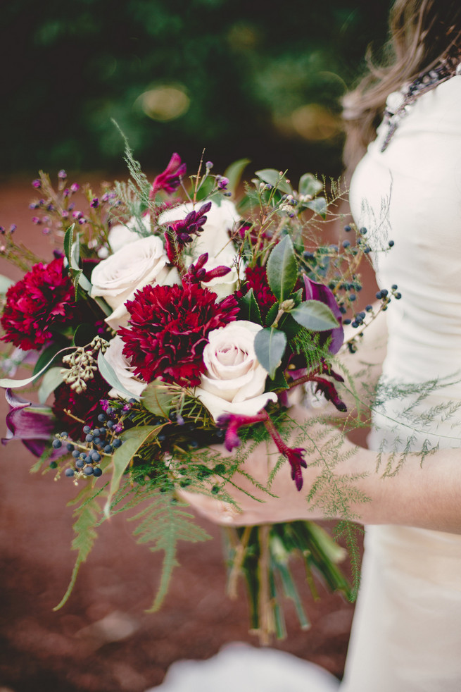 Bridal bouquet with leaves and berries