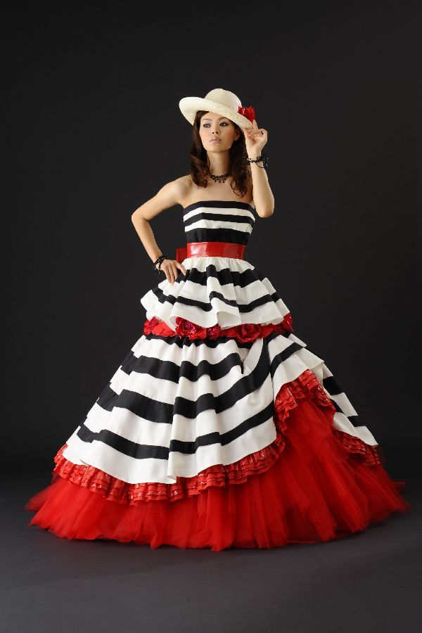 Creative red white and black wedding gown