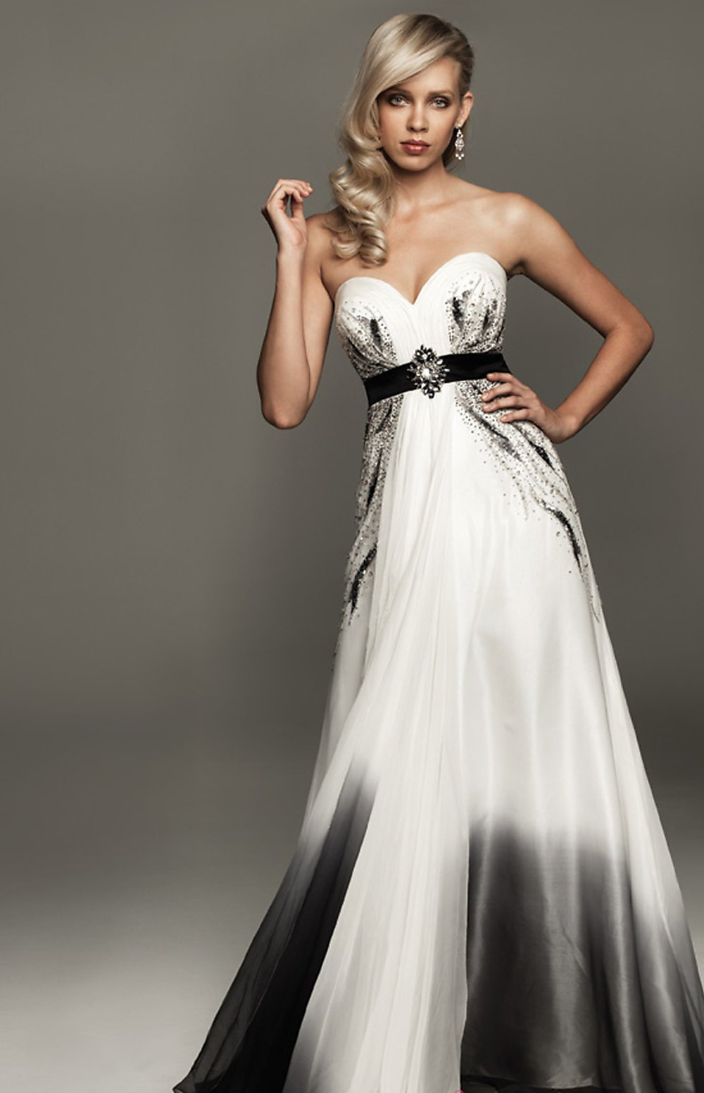 Empire waist wedding dress with beading