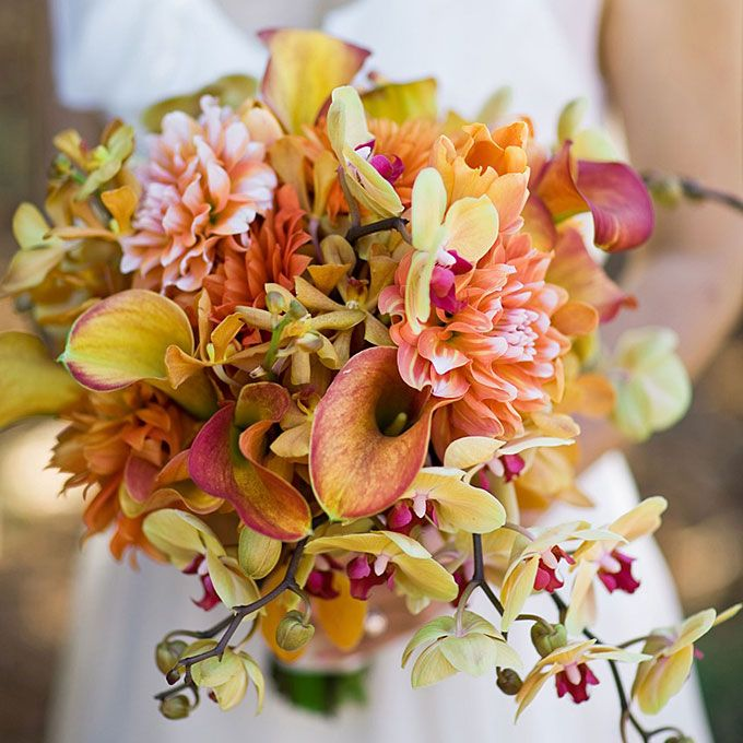 Fall wedding bouquet with orchids