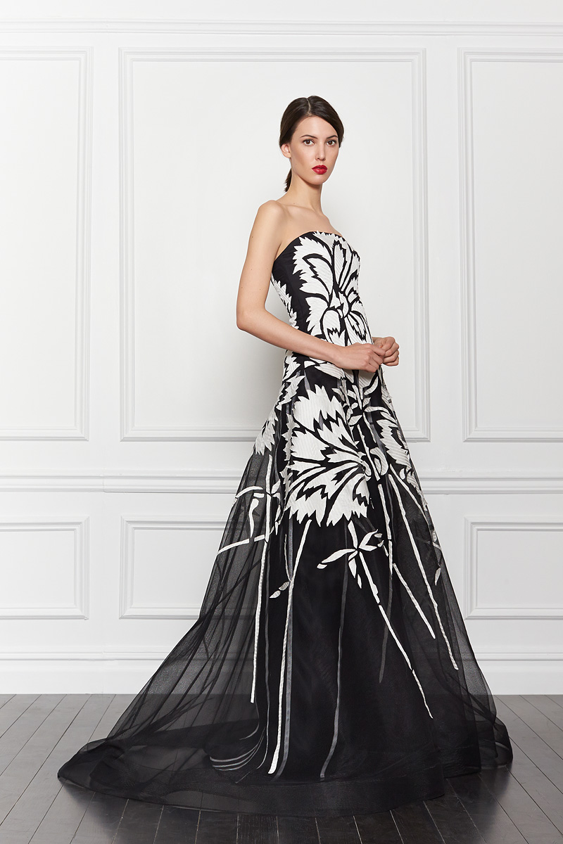 Flowery black and white wedding gown by Carolina Herrera