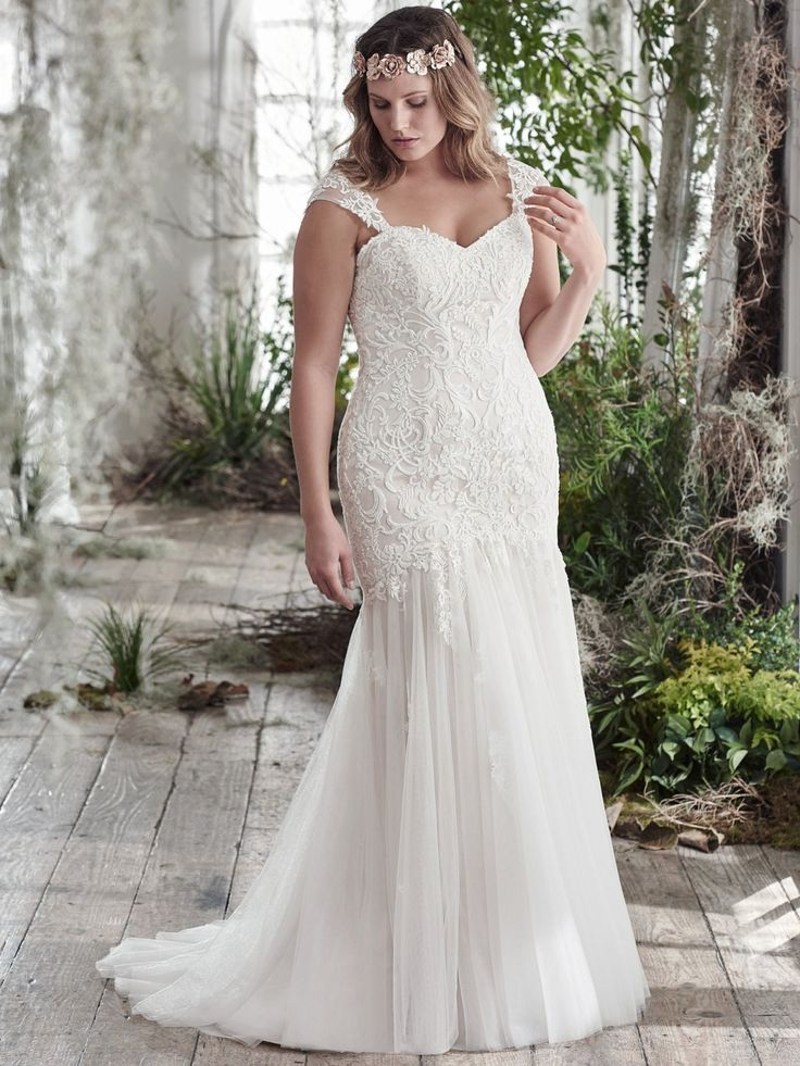 Plus size fit-and-flare wedding dress