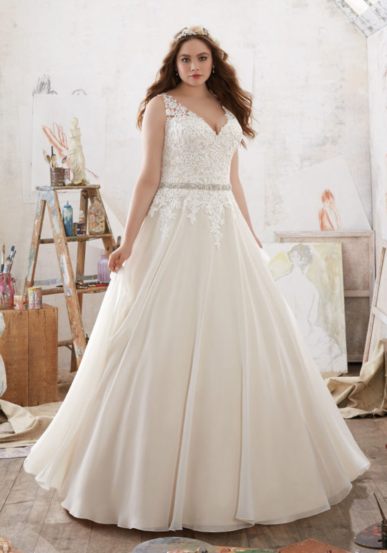 Plus-size wedding dress in A-line silhouette