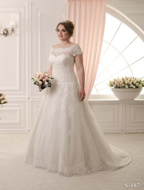 Plus size wedding dress with bateau neckline
