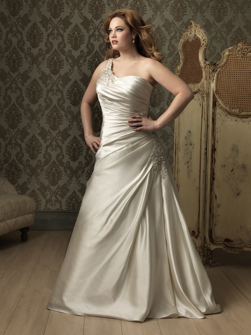 Plus size wedding dress with ruches