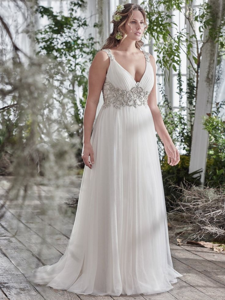 Plus size wedding dress with V-neck