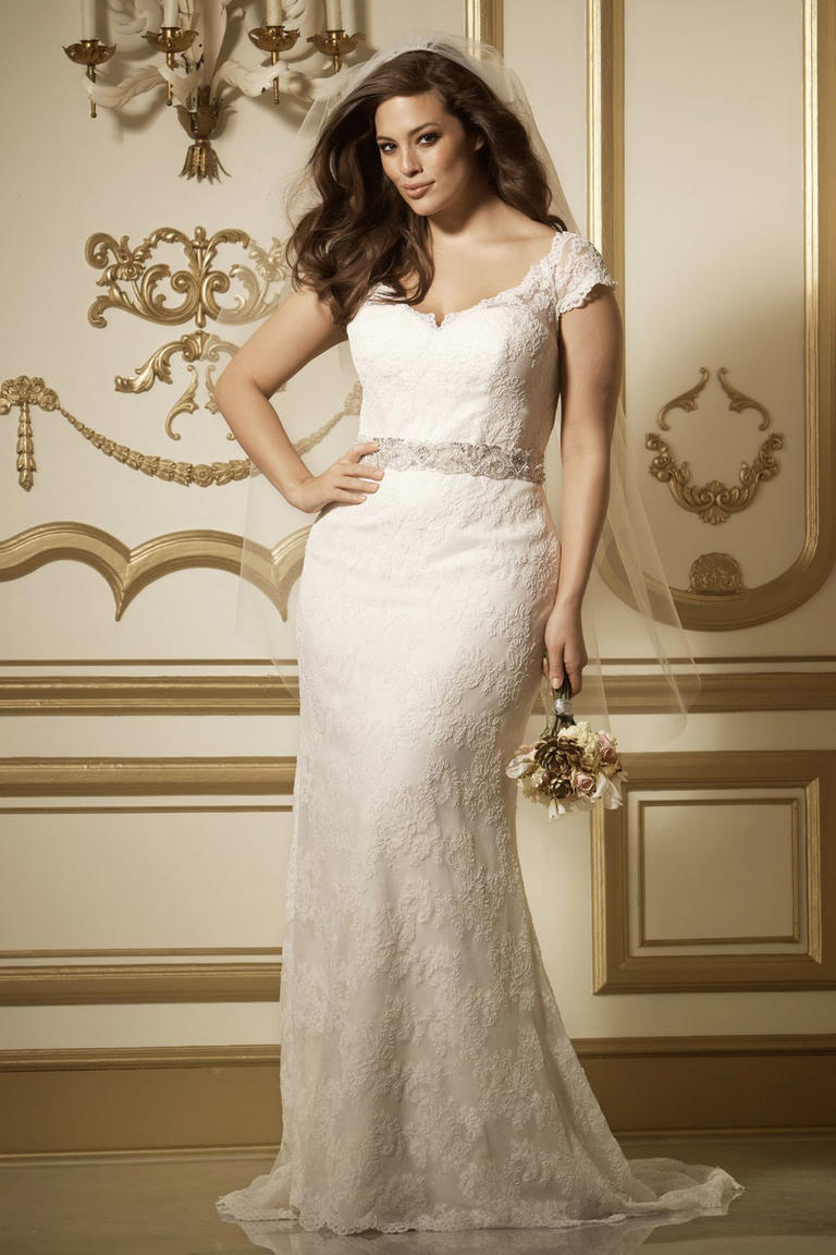 Sheath plus size wedding dress