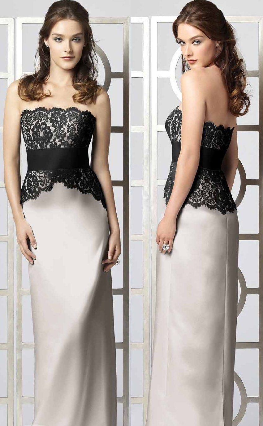 Sheath wedding dress with lace top