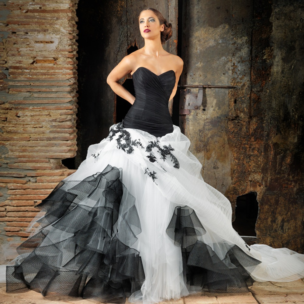 Strapless ball gown wedding dress in black and white