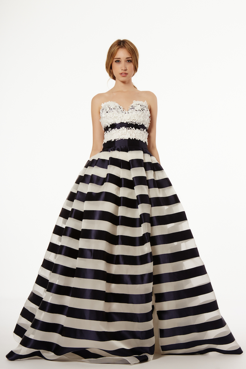 Striped black and white wedding dress