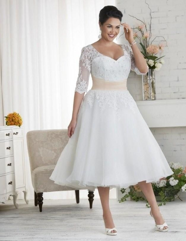 Tea-length plus size wedding dress