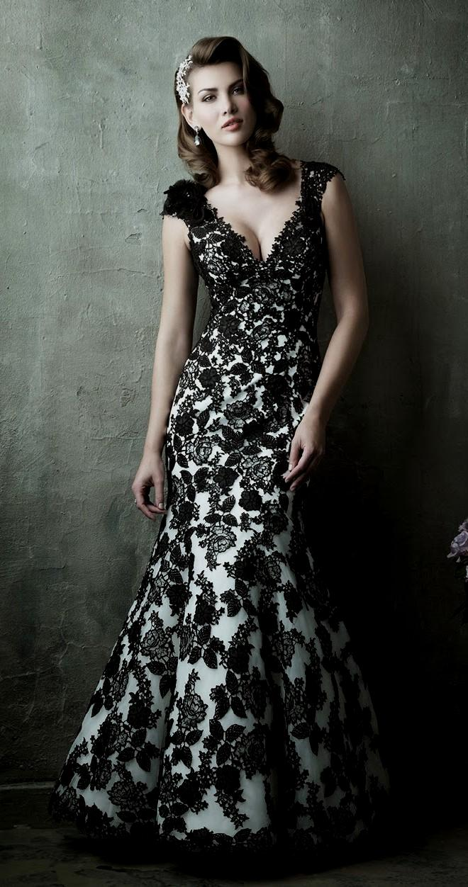 V-neck black and white lace wedding dress
