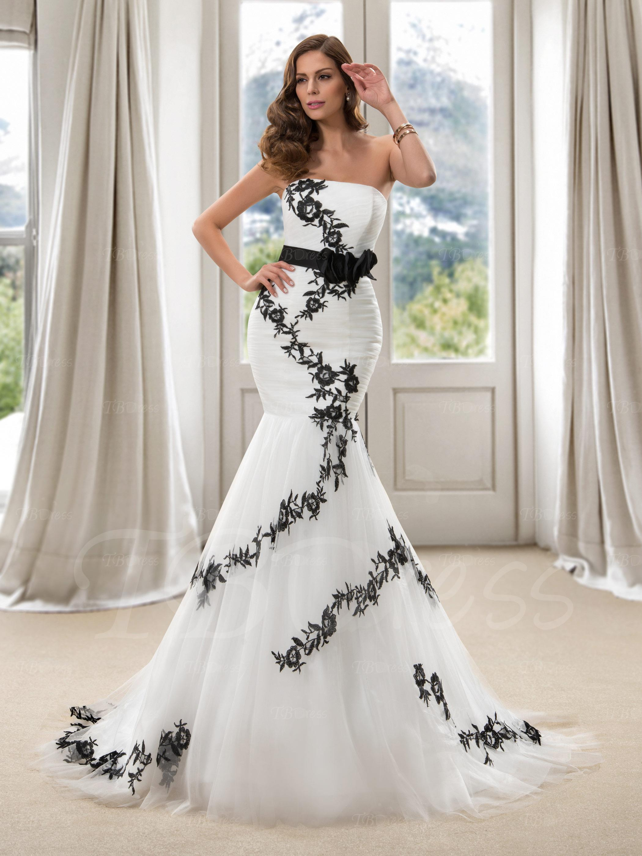 White mermaid wedding dress with black lace