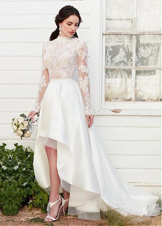 17 coolest variants of short wedding dresses the best for Long sleeve high low wedding dresses