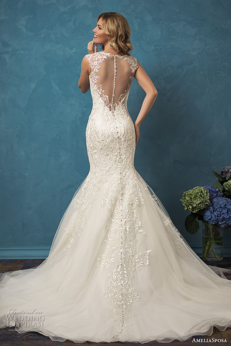 35 fantastic ideas of mermaid wedding dresses you won t be for Wedding dress with illusion top