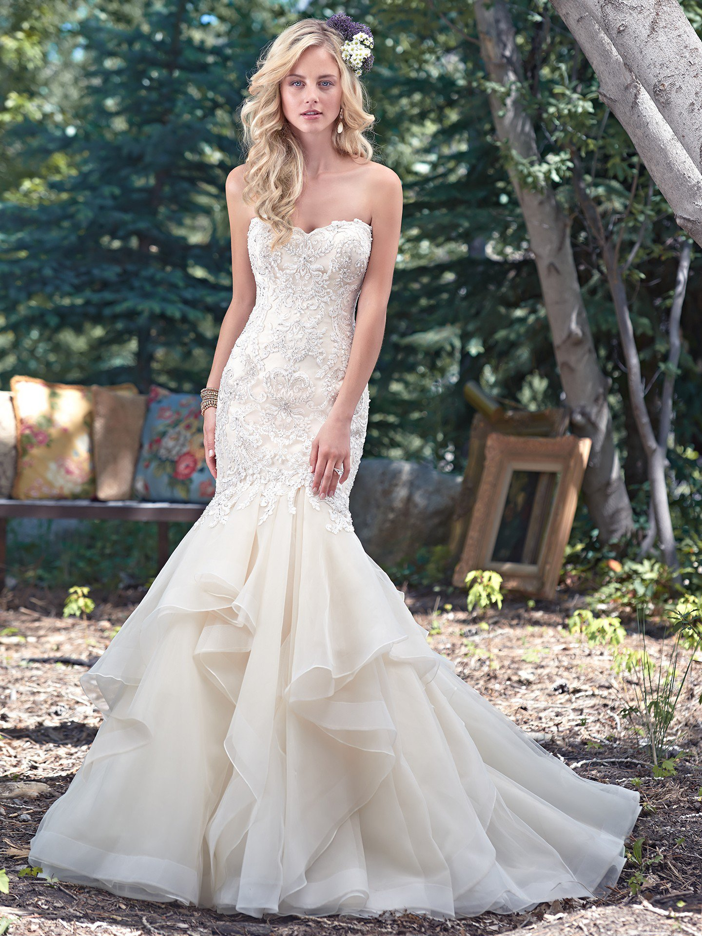 Maggie Sottero ruffled wedding dress