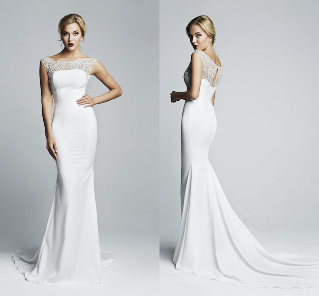 Mermaid wedding dress with bateau neck