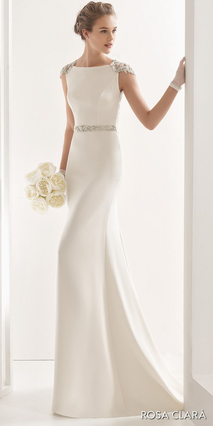 Minimalistic high neck wedding dress