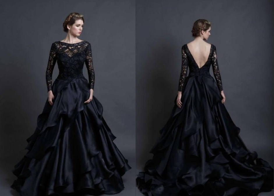 Black wedding dresses review of mona lisa wedding gown by for Images of black wedding dresses