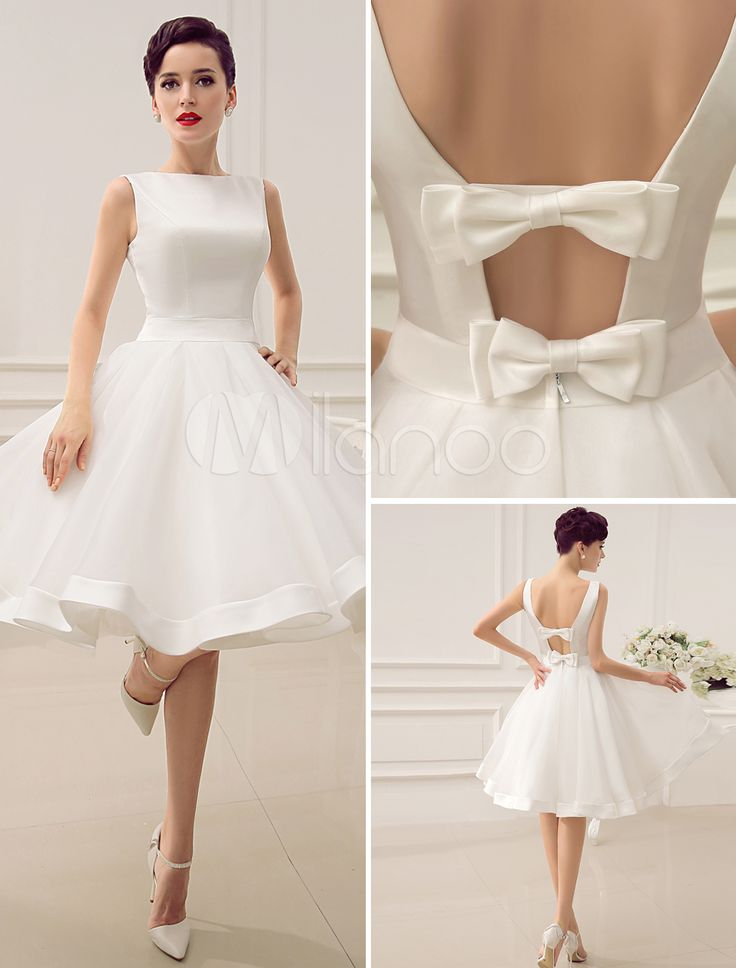 Open back short wedding dress