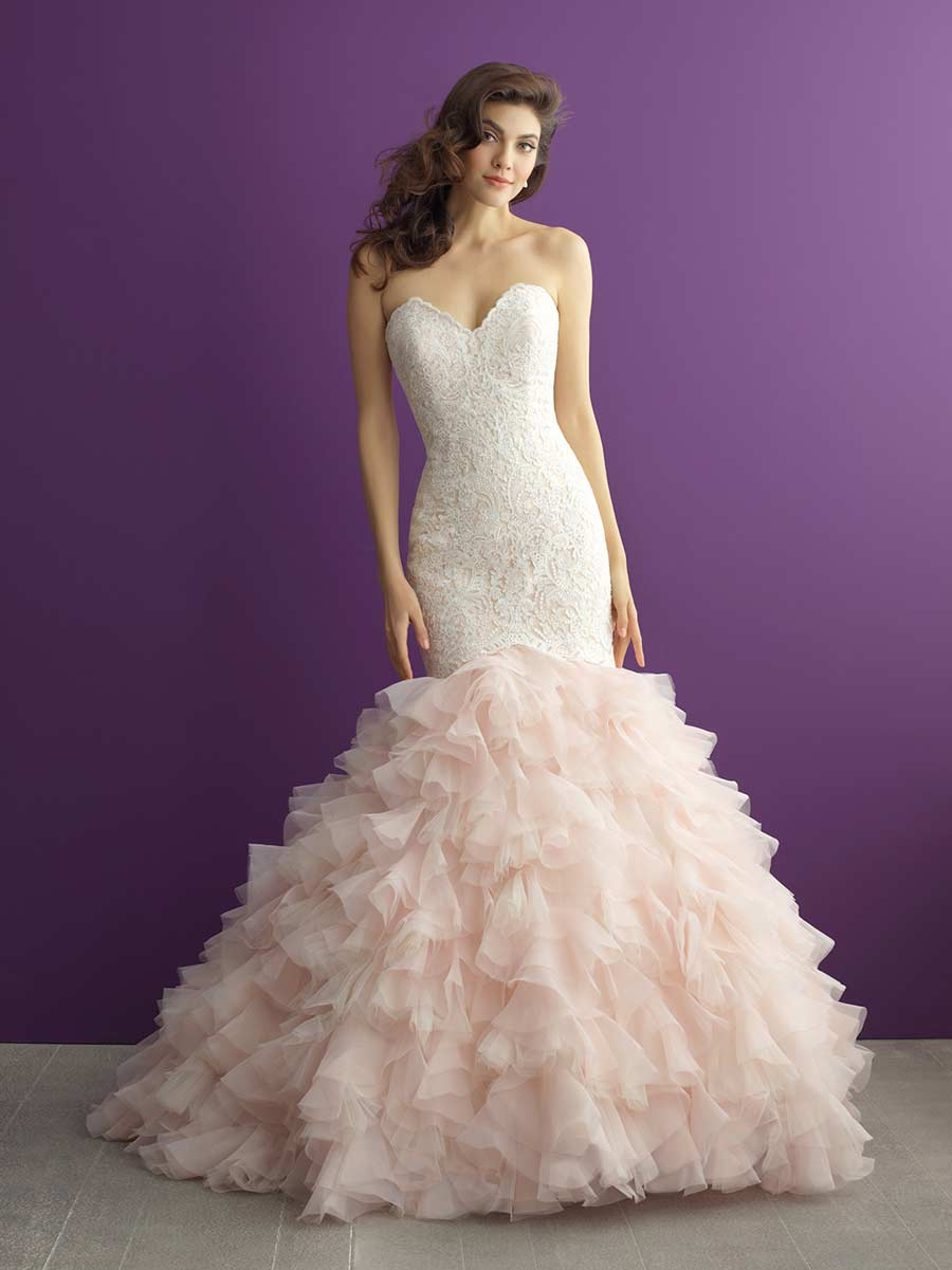 35 fantastic ideas of mermaid wedding dresses you won t be for Pink ruffle wedding dress