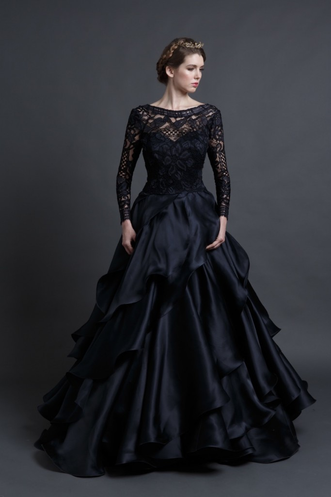 Black wedding dresses review of mona lisa wedding gown by for Long sleeve wedding dress topper