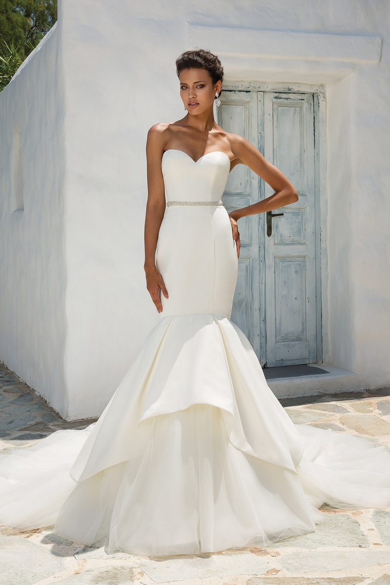 Satin wedding dress with apron skirt