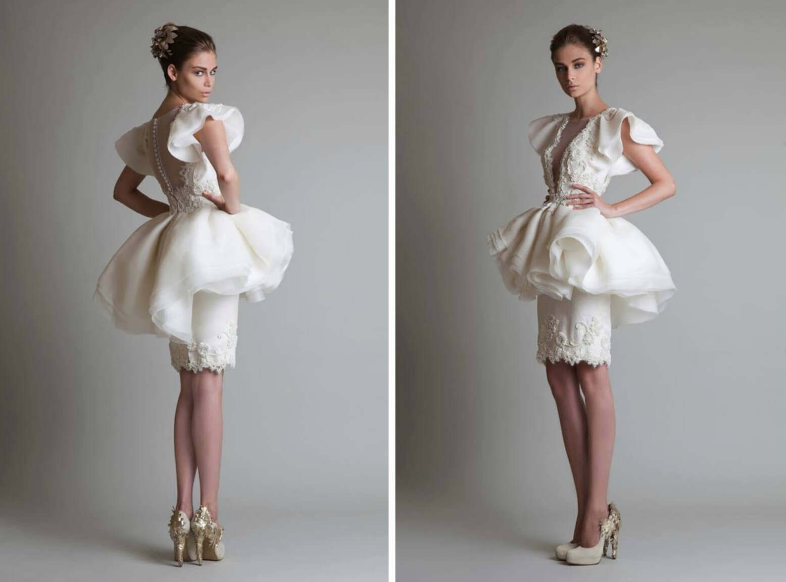 Short wedding dress with basque