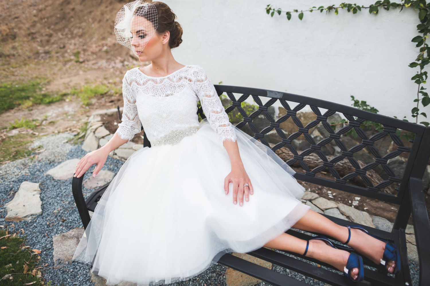 Short wedding dress with tulle skirt