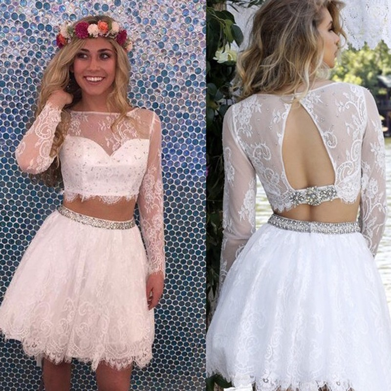 Two-piece short wedding dress