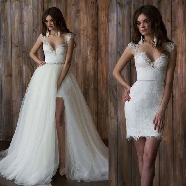 Traditional Wedding Gowns With Detachable Trains: 17 Coolest Variants Of Short Wedding Dresses