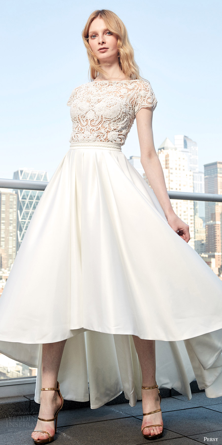 High-low gown with lace bodice