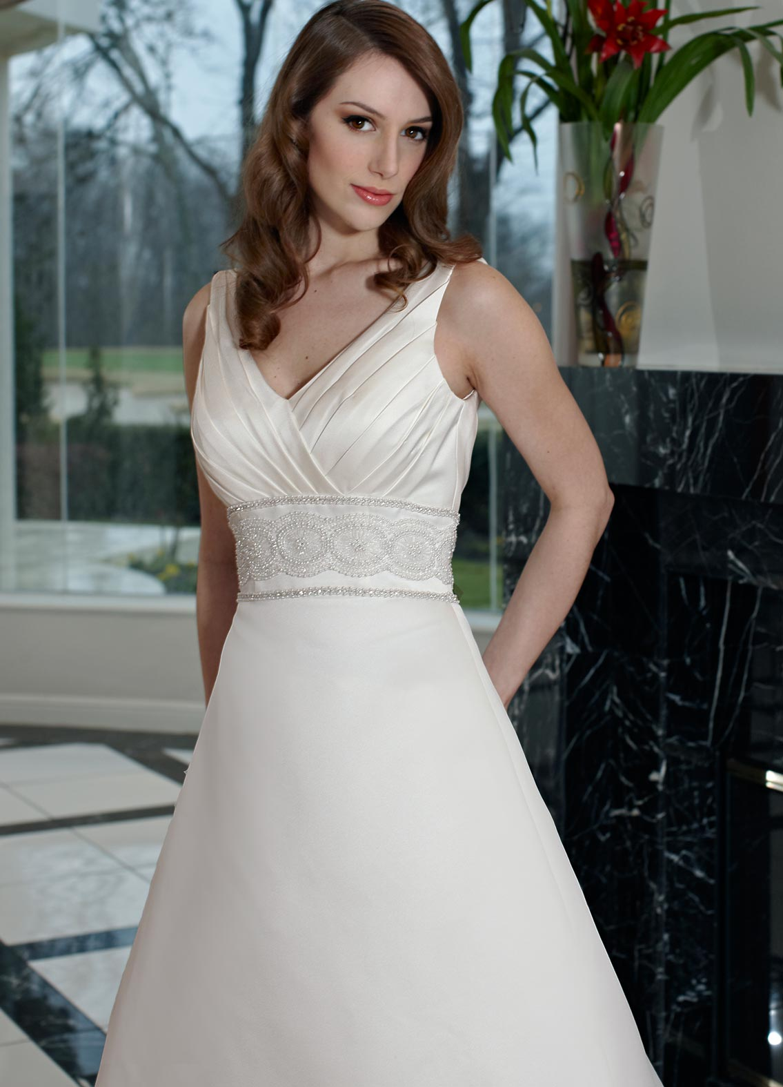 Wedding Dress with Lace Waistband