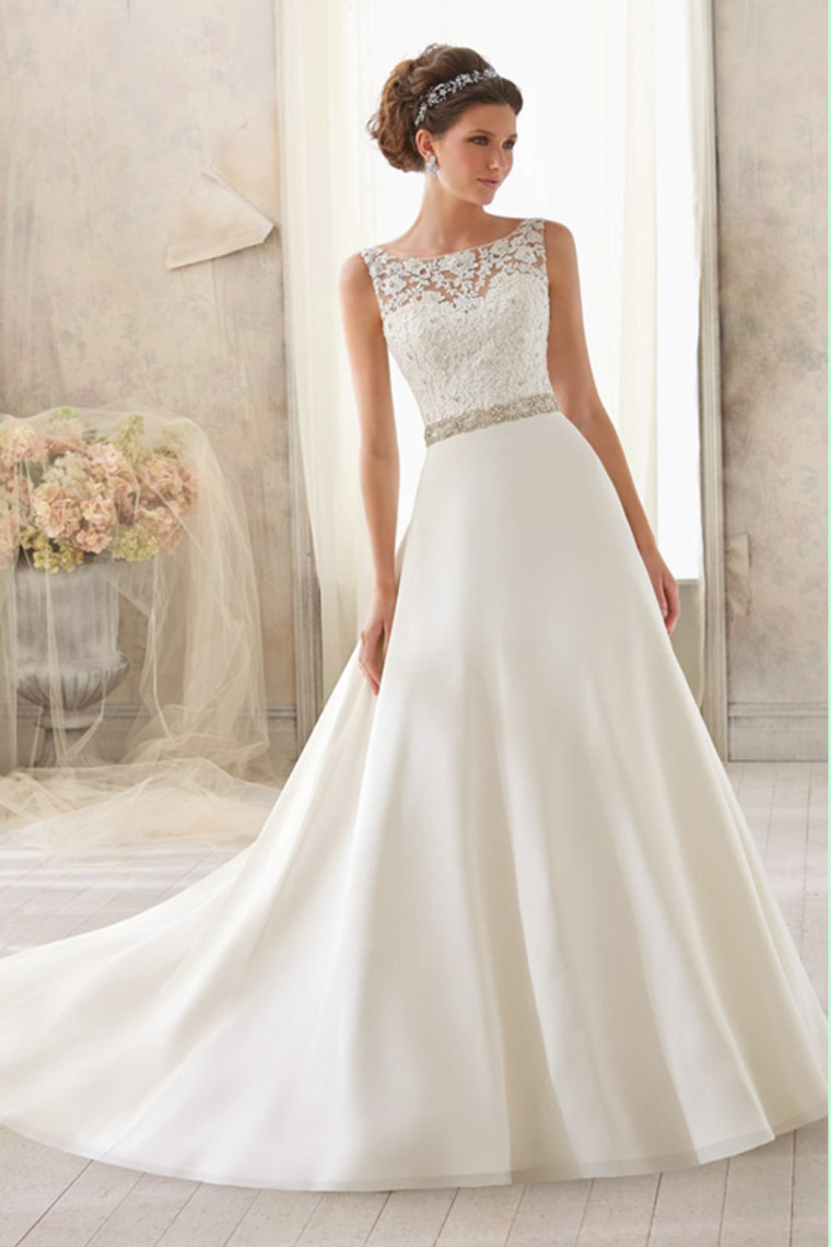 Wedding Dress with Lace Bodice