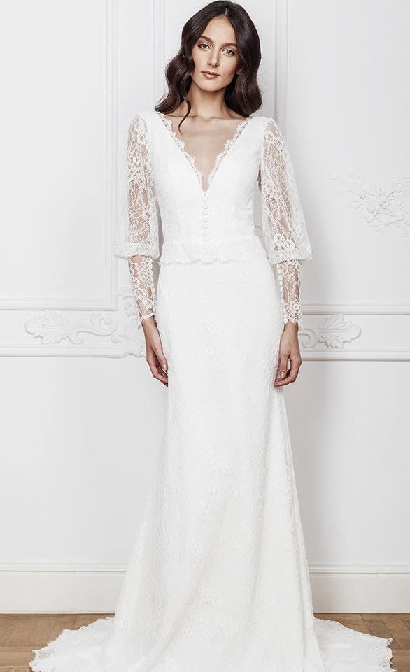 Bishop sleeves wedding dress