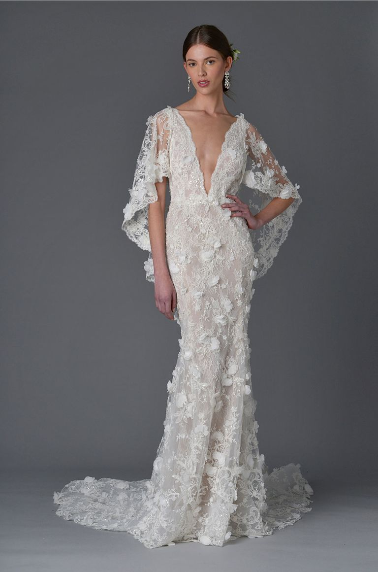 Cape sleeve wedding dress