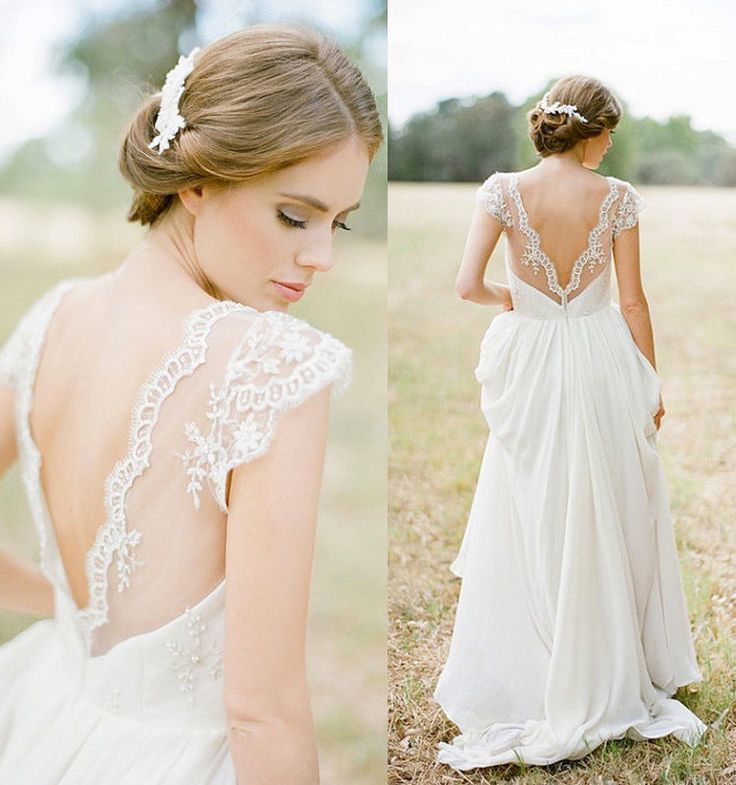 Open back wedding dress with cap sleeves