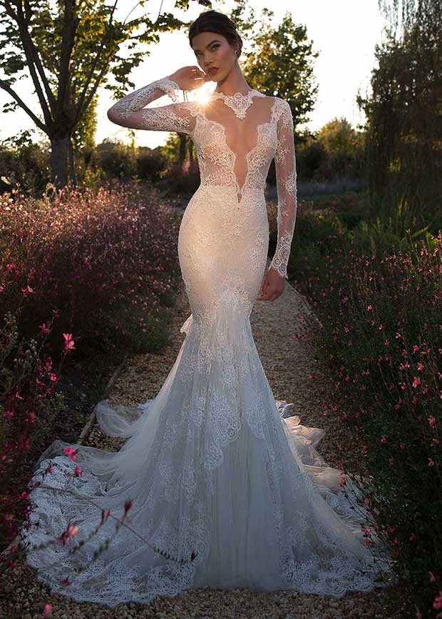 Sexy wedding dress with illusion bodice